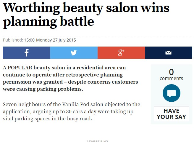 Worthing Beauty Salon Wins Planning Battle